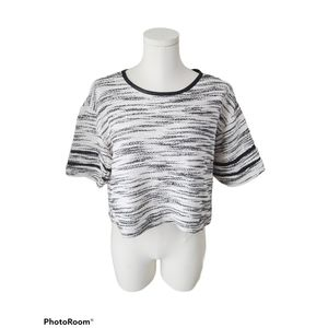 William Rast cropped black and white knit top